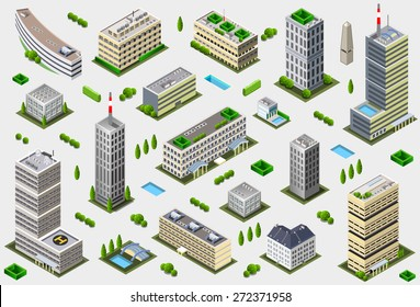Isometric Building City Palace Private Real Estate. Public Buildings Collection Luxury Hotel Gardens. Isometric Building Tiles.3d Skyscraper Map Illustration Elements Set Business Vector Game