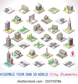 Isometric Building City Palace Private Real Estate. Public Buildings Collection Luxury Hotel Gardens. Isometric Tiles.3d Skyscraper Building Map Illustration Elements Set Business Vector Game Icons