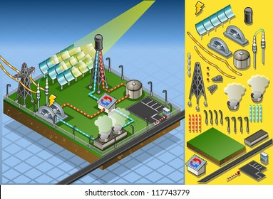Isometric Building Concentrating Solar Power Systems CSP Plant Farms Isometric Electric Power Station Electricity Grid and Energy Supply Chain.Energy Harvesting and Saving Management Diagram 3d Vector