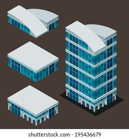 isometric building, each part is well grouped and easy to rearrange and customize