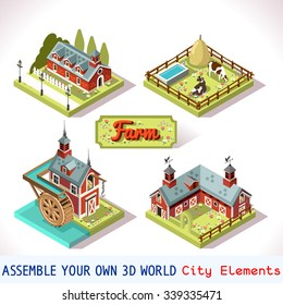 Isometric Building Farm Element Set. Rural Farm City Map Tile. 3D Flat Ville Building Icon Set. Rural Farmland American isometric Building Isolated android video game Vector Collection Village Country