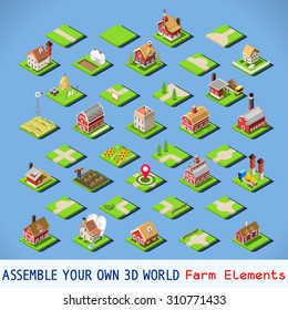 Isometric Building Farm Elements Set. Rural Farm City Map Tiles 3D Flat Ville Building Icon Set. Agriculture Rural Spring Farmland American Building Isolated Vector Collection. Western Village Country