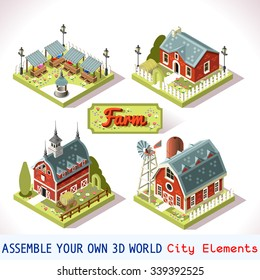 Isometric Building Farm Set. Android video game settlement Rural Farm City Map Tile 3D Flat Ville Building Icon Set. Agriculture Rural Farmland American Building Isolated Country Vector Collection