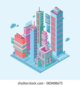 Isometric building. megalopolis business city. skyscrapers towers modern buildings on white background vector illustration