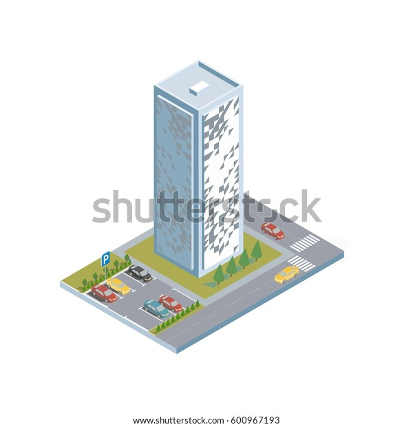 isometric building with the parking, Flat 3d isometric city business infographic concept. Build your own infographic world, skyscraper  with urban traffic movement of the car, constructor