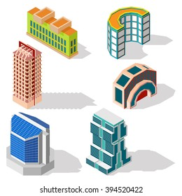 Isometric building set, modern tower town, landmark collection