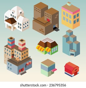 Isometric building set. vector illustration