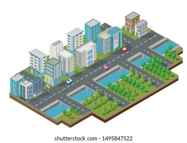 Isometric Building vector. They are  on Yard with road and trees.smart city and public park.building 3d,cars,capital , Vector office and metropolis concept.
