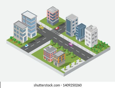 Isometric Building vector. Three building on Yard with road and trees.smart city and public park.building 3d,cars,capital , Vector office and metropolis concept.