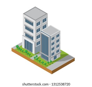 Isometric Building vector. Two building on Yard with road. building 3d , smart city, Vector office and town apartment concept.