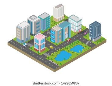 Isometric Building vector.Smart town on Yard with road , can and trees.smart city and public park.building 3d,cars,capital , Vector office and metropolis concept.