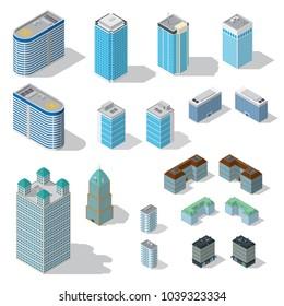 Isometric buildings illustrations set on white background