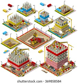 Isometric Buildings. Industrial Construction Game Set. Flat 3D City Map Isolated Elements Isometric Industrial Building Infographic Game Collection. Icon Game Construction Industry 3D Vector Business
