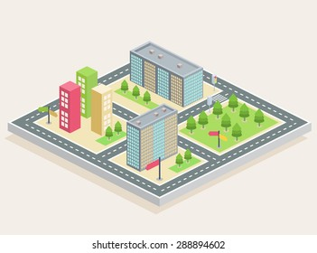 Isometric buildings on a city map on a light brown background