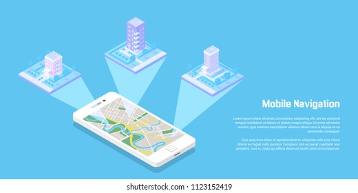 Isometric buildings and roads with smart phone. Map on mobile application. 3d vector illustration. Mobile navigation concept.