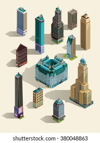 Isometric buildings. Set Isolated icon landmarks. 3d map, home, town skyscraper.Top view. Isolated.3d building.