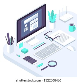 Isometric busines office flat design  trendy color workspace concept illustration for . business, internet company, seo  and financial analytics tools pofessional workplace.