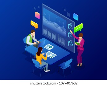 Isometric business analysis and planning, consulting, team work, project management, financial report and strategy concept. Unity and teamwork concept. Vector illustration.