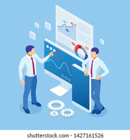 Isometric business analytics and financial technology, data visualization concept. Business Analytics technology using big data, cloud computing, statistical model.