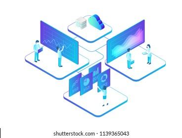 Isometric Business Analytics Statistics Data Charts vector illustration. Network People Teamwork concept
