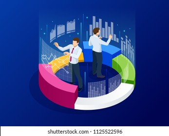Isometric business analytics, strategy and planning. Technology, Internet and network concept. Data and investments. Businessmans with infographic elements.