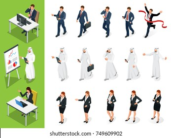 Isometric Business characters poses. Set of Businessmans, Businesswomans and Arab Mans on white background. Cartoon people. Create your own design for vector.