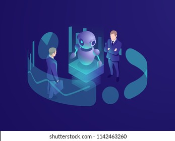 Isometric business concept of man thinking, crm system, artificial intelligence robot ai, consulting agency, smart technology progress, vector neon dark