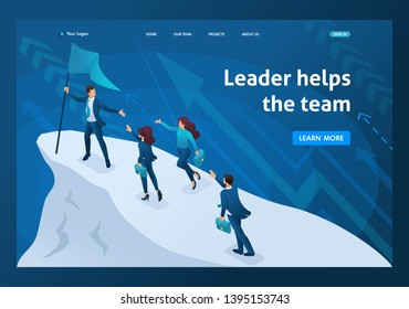 Isometric business concept, a successful leader leads his team to success. Template landing page.
