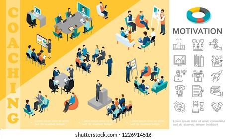 Isometric business education concept with staff take part in conference coaching seminar brainstorming consultation motivation linear icons vector illustration