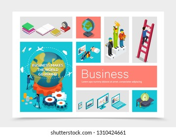 Isometric Business Elements Set