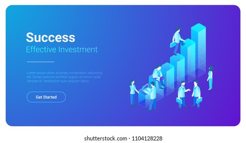 Isometric Business Finance Analytics Statistics Charts with Teamwork People standing vector illustration.