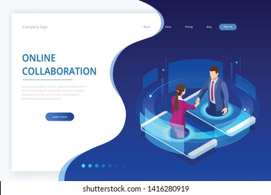 Isometric business handshake, global online collaboration, team collaboration, social network, and headhunting concept. Template landing page.