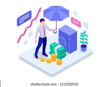 Isometric business insurance, investment insurance and money storage concept. Vector illustration