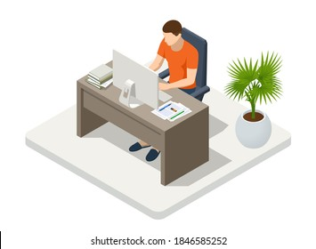 Isometric business man working at home with laptop and papers on desk. Freelance or studying concept. Online meeting work form home. Home office.