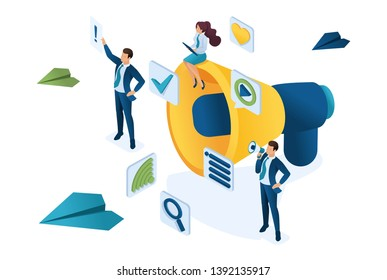 Isometric business marketing, businessmen next to the big megaphone and digital icons. Concept for web design.