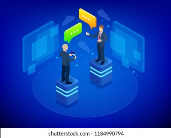 Isometric Business negotiations concept. Team work process. Business management teamwork meeting and brainstorming. Business negotiation between businesswoman and businessman vector illustration