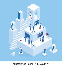 Isometric business people analyzing a financial dashboard with key performance indicators and business intelligence. Search for new business ideas, startups, employees.