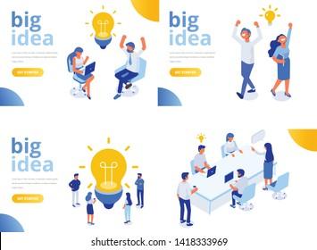 Isometrische Geschäftsleute mit großer Light Bulb Idee. Menschen, die an einem neuen Projekt arbeiten. Kreativität, Brainstorming, Innovationskonzept. Flache Vektorgrafik.