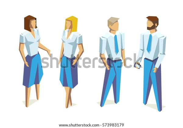 Isometric Business people group human resources low poly vector isolated illustration on white background
