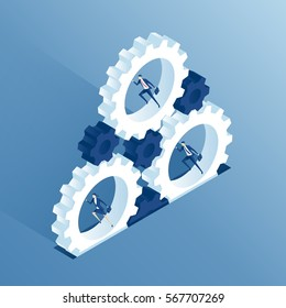 Isometric business people run inside the gears and thereby causing the mechanism to work. Businessmen running inside cogwheels, thereby rotating them. Business concept teamwork and the system