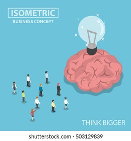 Isometric business people standing in front of the big brain and light bulb of idea, think bigger concept