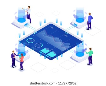 Isometric business strategy and planning. Investments and Analysis Data. Vector illustration for presentation or landing page. SEO analytics team.