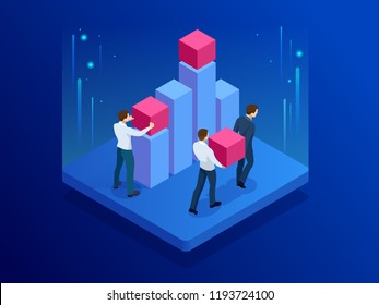 Isometric Business team doing data analysis and statistics concept. Data visualisation. Vector illustration