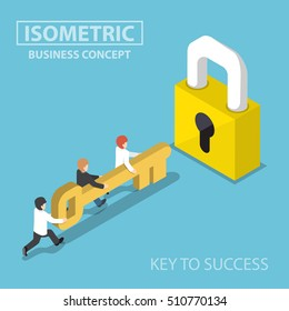 Isometric business team holding golden key to unlock the lock, business solution, key to success and teamwork concept