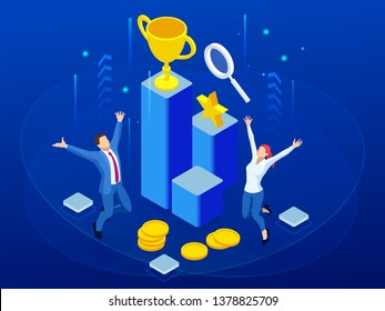 Isometric business team success, leadership, awards, career, successful projects, goal, winning plan, leadership qualities in a creative team, direction on a successful path concept