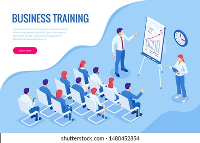 Isometric Business Training concept. Group of businessmen studies data. Office work crowd, team meeting, and discussion.