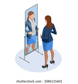 Isometric business woman adjusting tie in front of the mirror. Man checking his appearance in the mirror. Businessman looking himself in the mirror vector flat design illustration
