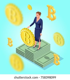 Isometric business woman with bitcoin symbol, cryptocurrency coins, money banknotes, golden bar, successful financial wealth concept, 3d vector illustration