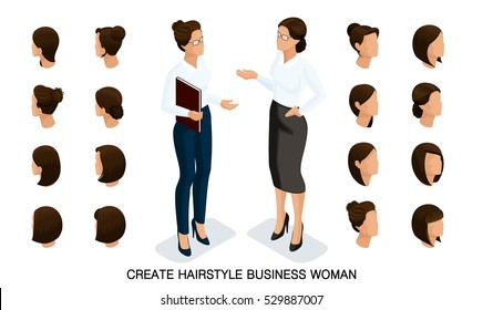 Isometric business woman set 4 3D, women's hairstyles to create a stylish business woman, fashionable hairstyle rear view isolated on a light background.
