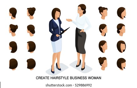 Isometric business woman set 5 3D, women's hairstyles to create a stylish business woman, fashionable hairstyle rear view isolated on a light background.
